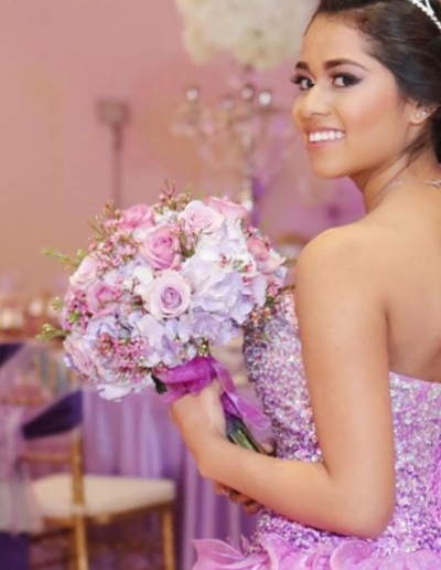 Pink Purple and White bouquet for Quinceanera