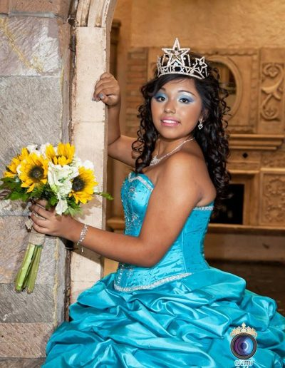 Quinceanera Sunflowers with white flowers and blue dress