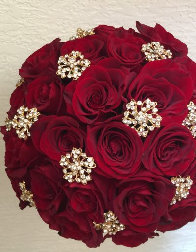 Red Rose with Golden Crystal filledflower emblems