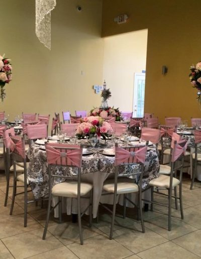 Tall pink and Dark pink Table arrangements