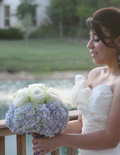 Wedding Bridal Bouquet Large white roses with Purple Hydrangeas