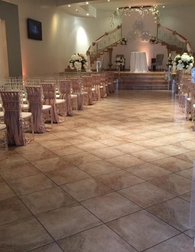 Wedding ceremony aisles topiaries