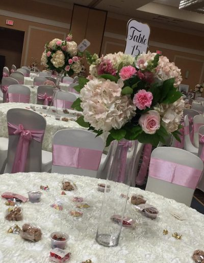 Wedding receptions centerpieces white hydrangeas pink carnations and roses