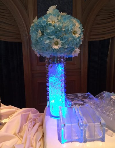 Wedding table centerpiece blue and white flower with lighted bottom